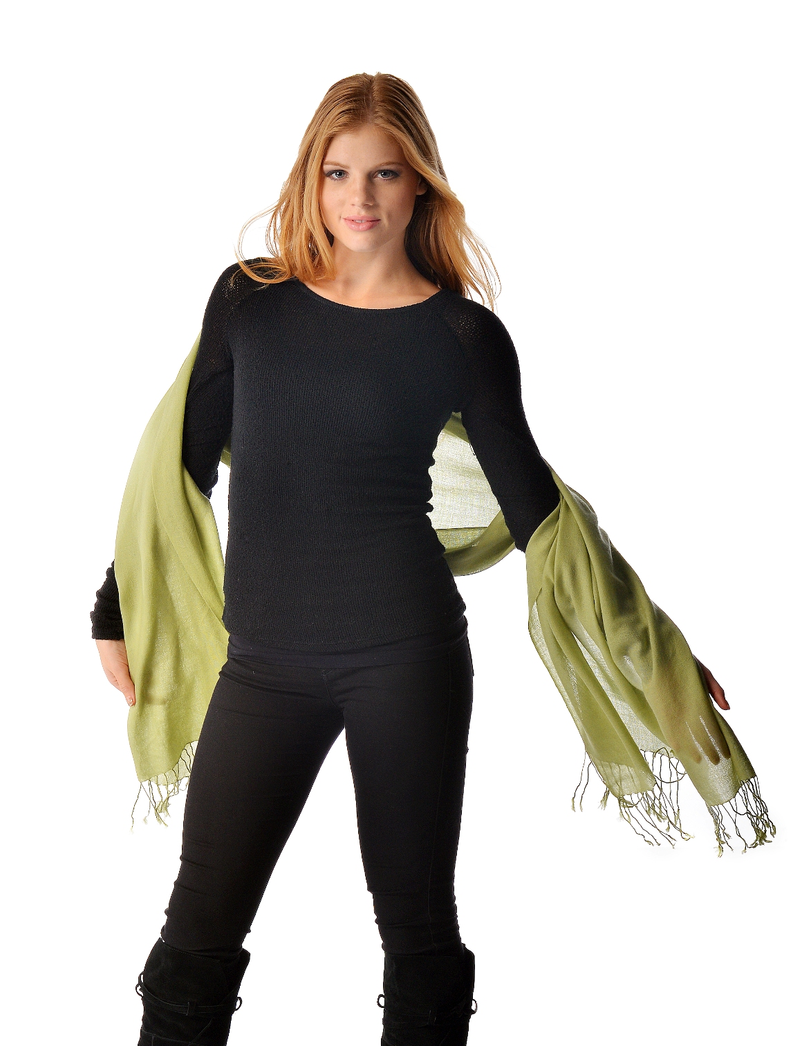 These wraps are made of pure mercerized merino wool and measure 28 x 72. Great for casual wear. They look and feel very similar to the real pashmina but may not provide as much warmth. Nice to have as a wrap for cool summer and fall evenings.