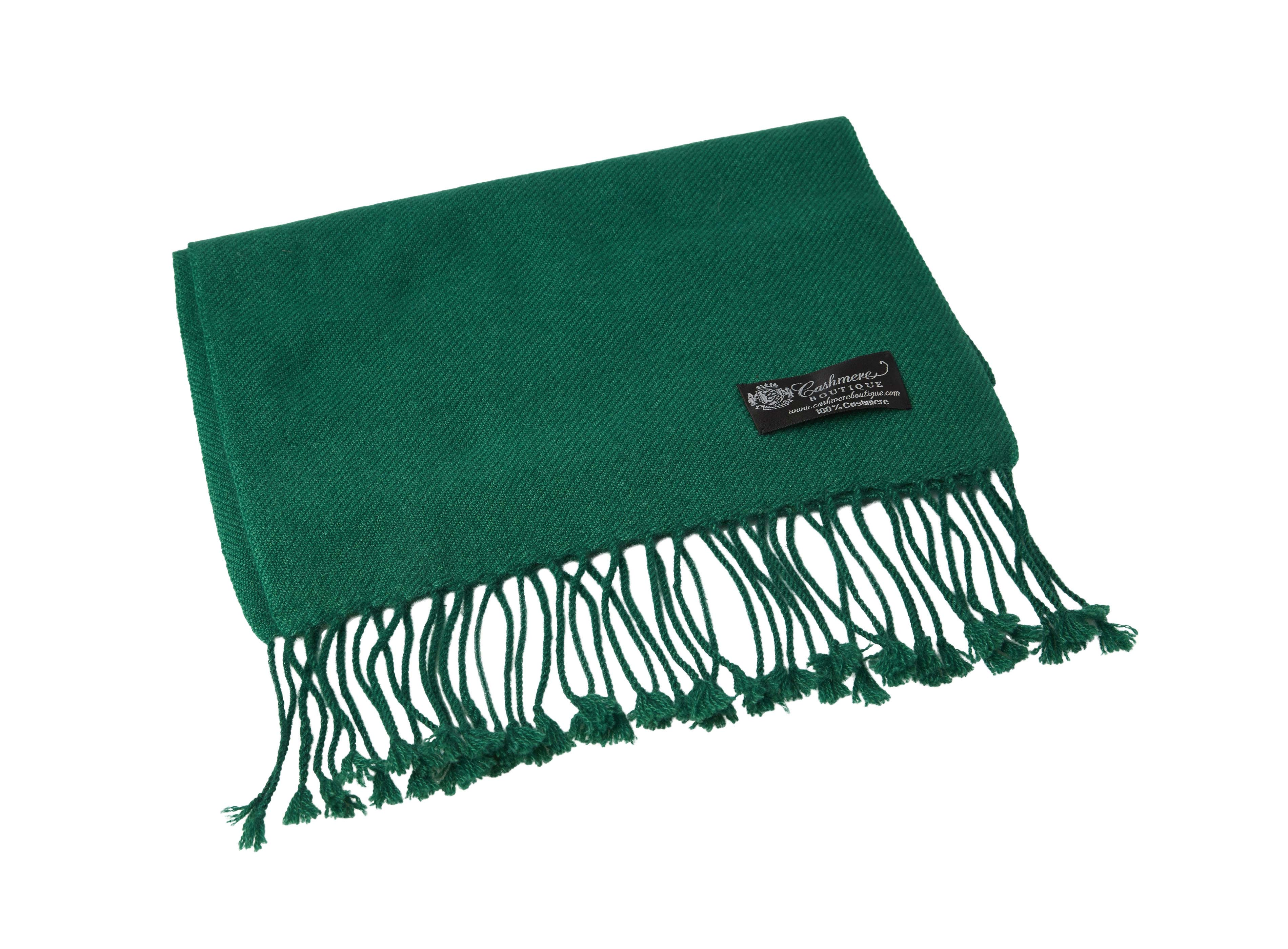 Pure_Cashmere_Scarf_with_Tassels_Bottle_Green
