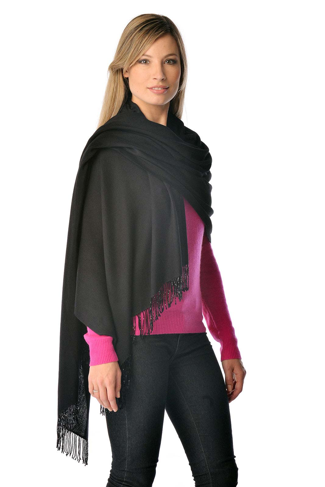Select from our stunning range of Beaded Pashmina Shawls. These pashminas are made with 70 Cashmere and 30 Silk and measure 36 x 80 and have 3 beaded tassels on both ends. This shawl is in a black color.