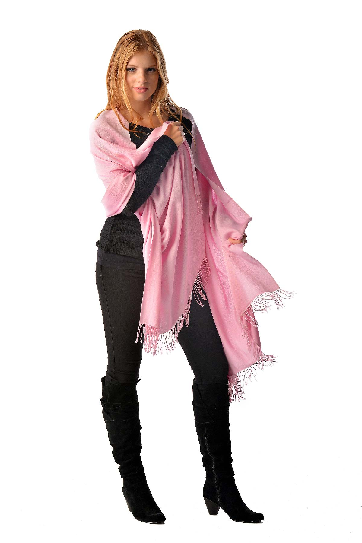 Pashmina Shawl With Beaded Tassels in Pink