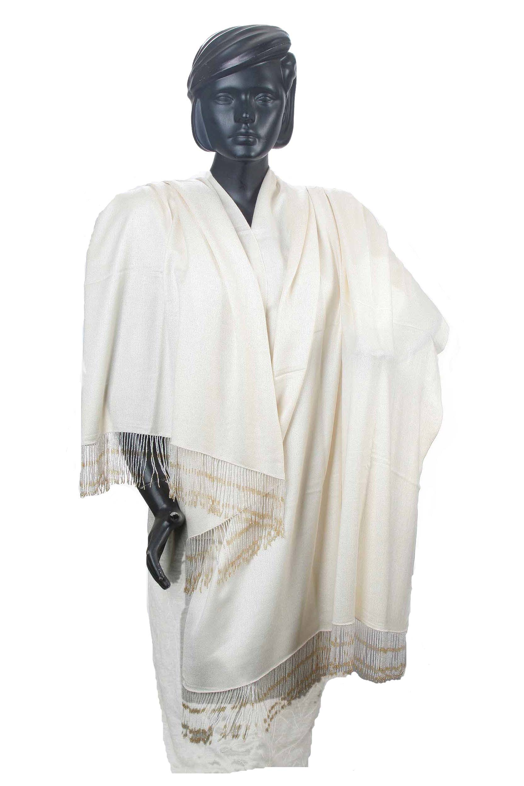 Pashmina Shawl With Beaded Tassels in Vanilla