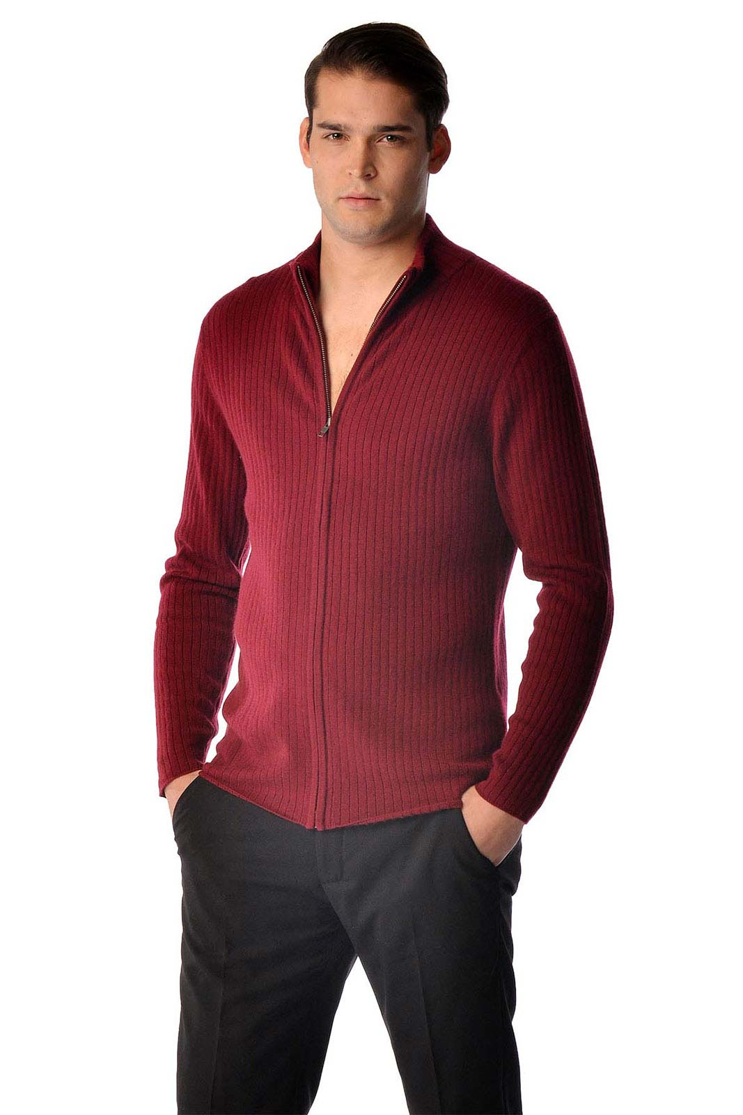 This is a pure cashmere zip cardigan jacket for men. Luxurious soft and really warm our sweaters are made from the finest grade of cashmere. These sweaters are made from A-Grade 3 ply pure cashmere yarn and offer unsurpassed warmth and softness.The Small size is offered only in the Black color.