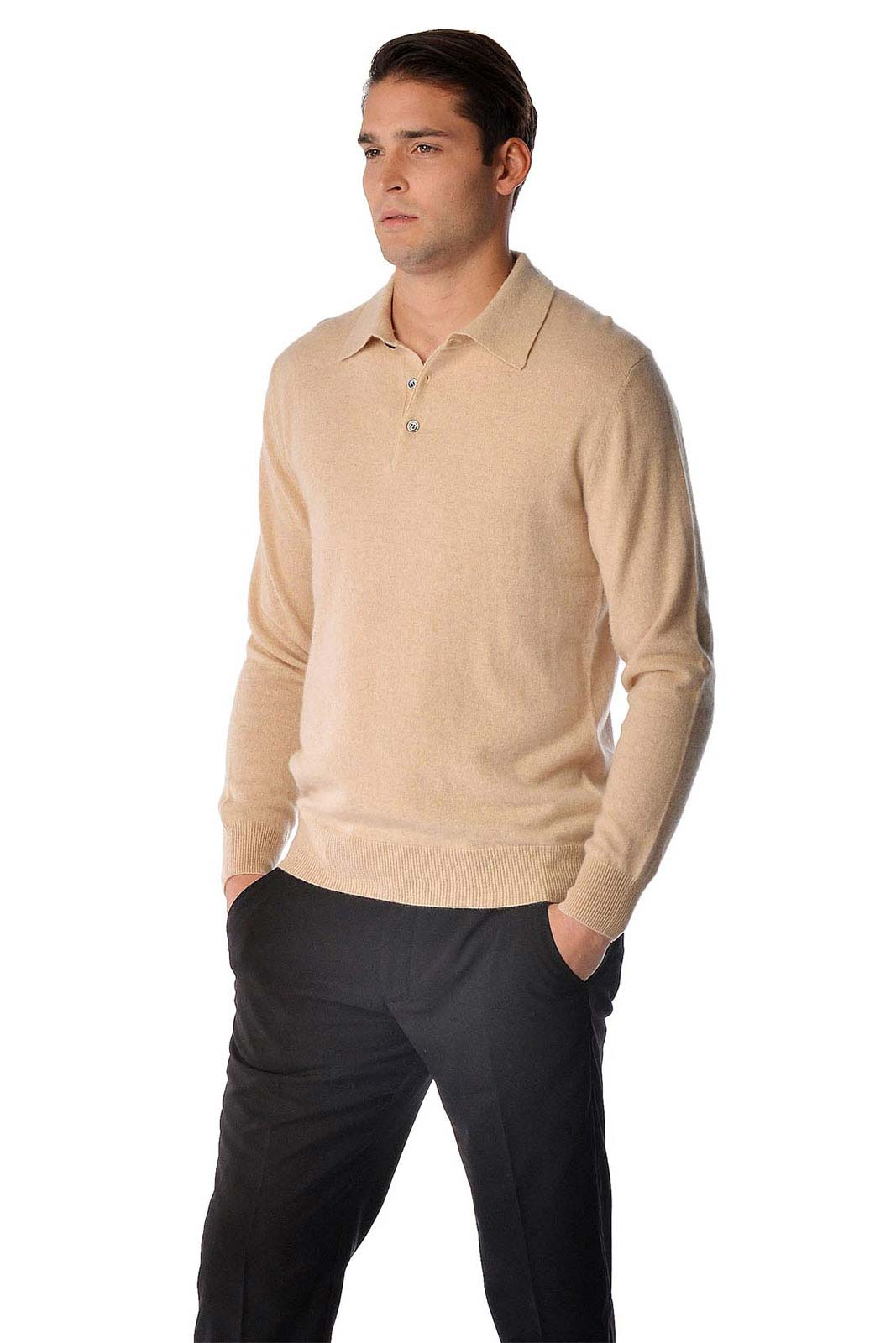 This is a pure cashmere polo sweater for men. Luxurious soft and really warm our sweaters are made from the finest grade of cashmere. These sweaters are made from A-Grade 3 ply pure cashmere yarn and offer unsurpassed warmth and softness.