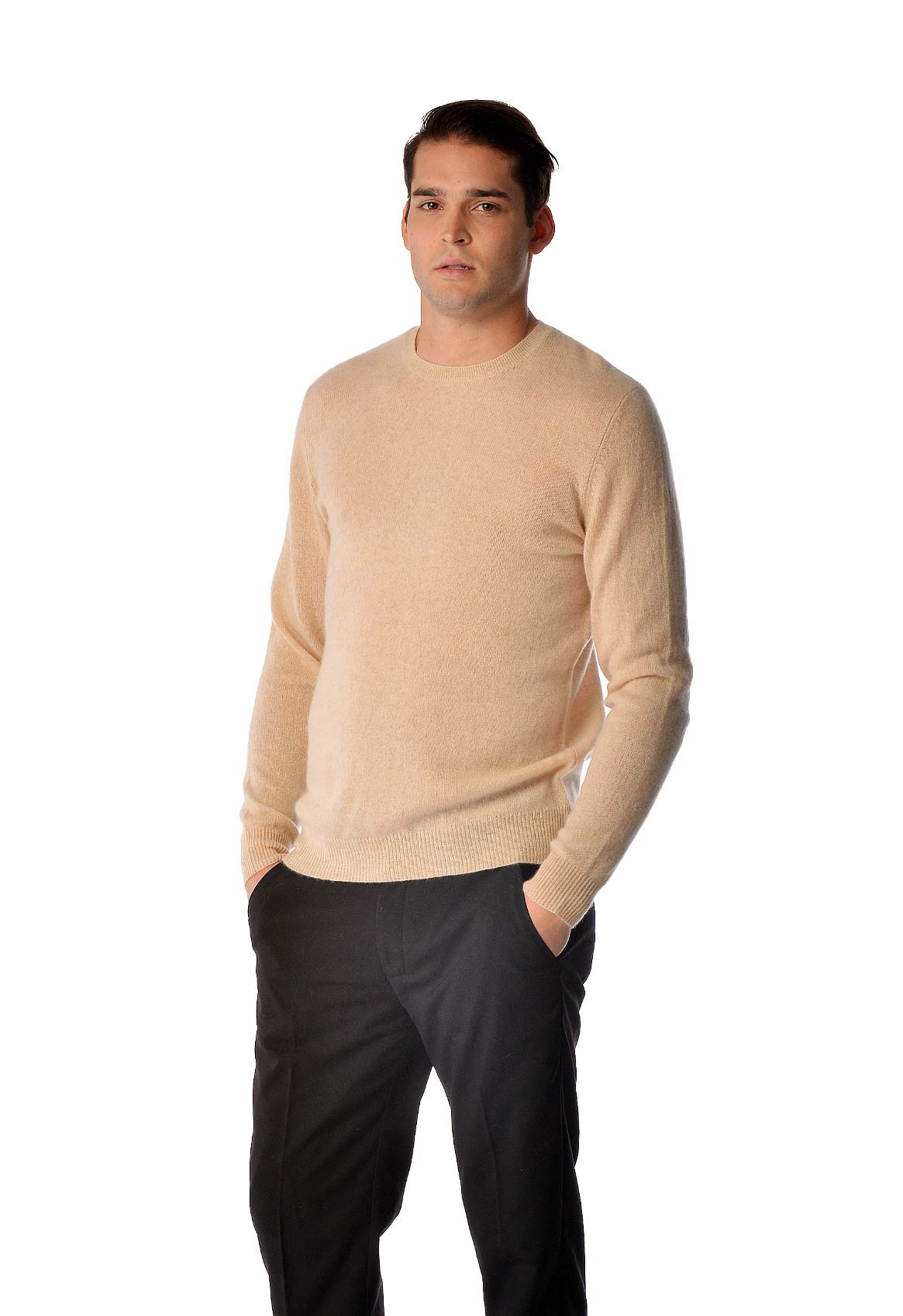 Spring Sweater for Men - Pure Cashmere Crew Neck