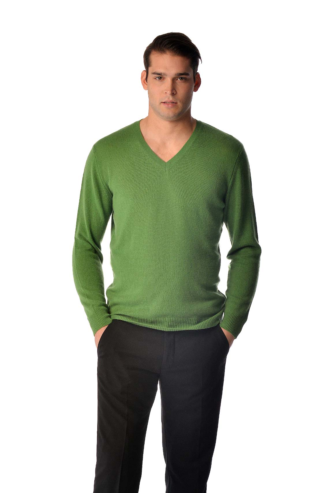 Pure Cashmere V-Neck Spring Sweater for Men