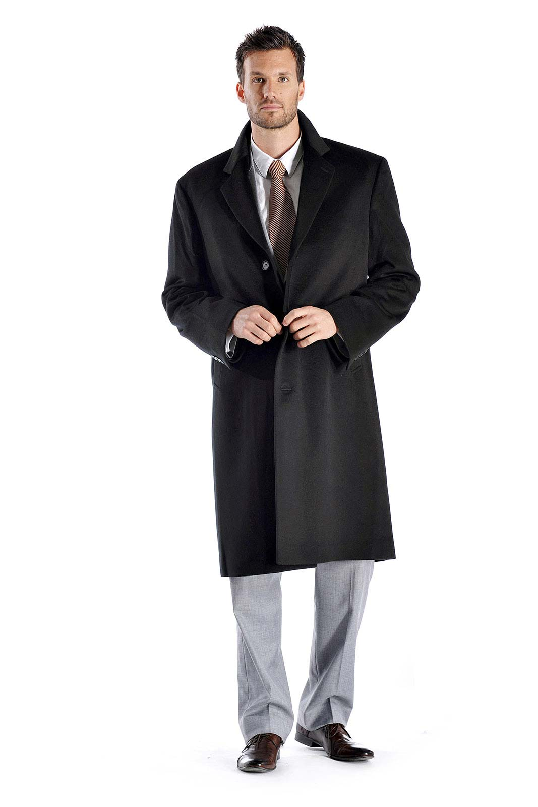 Luxurious soft and really warm this overcoat is made from the finest grades of cashmere and fine wool and offers unsurpassed warmth and softness. This is a knee length coat and has the following features- Made from 30 Cashmere and 70 Fine Wool Light weight yet incredibly warm Fabric weight - 450 gms/square meter 3 button Centre vent 100 Polyester Satin Lining Available in standard US sizes 40 to 50 Measurements of this Coat Size404244464850Length44.54545.54646.547Shoulder20.52121.52222.523Sleeve26.52727.52828.529Corresponding Suit Size404244464850