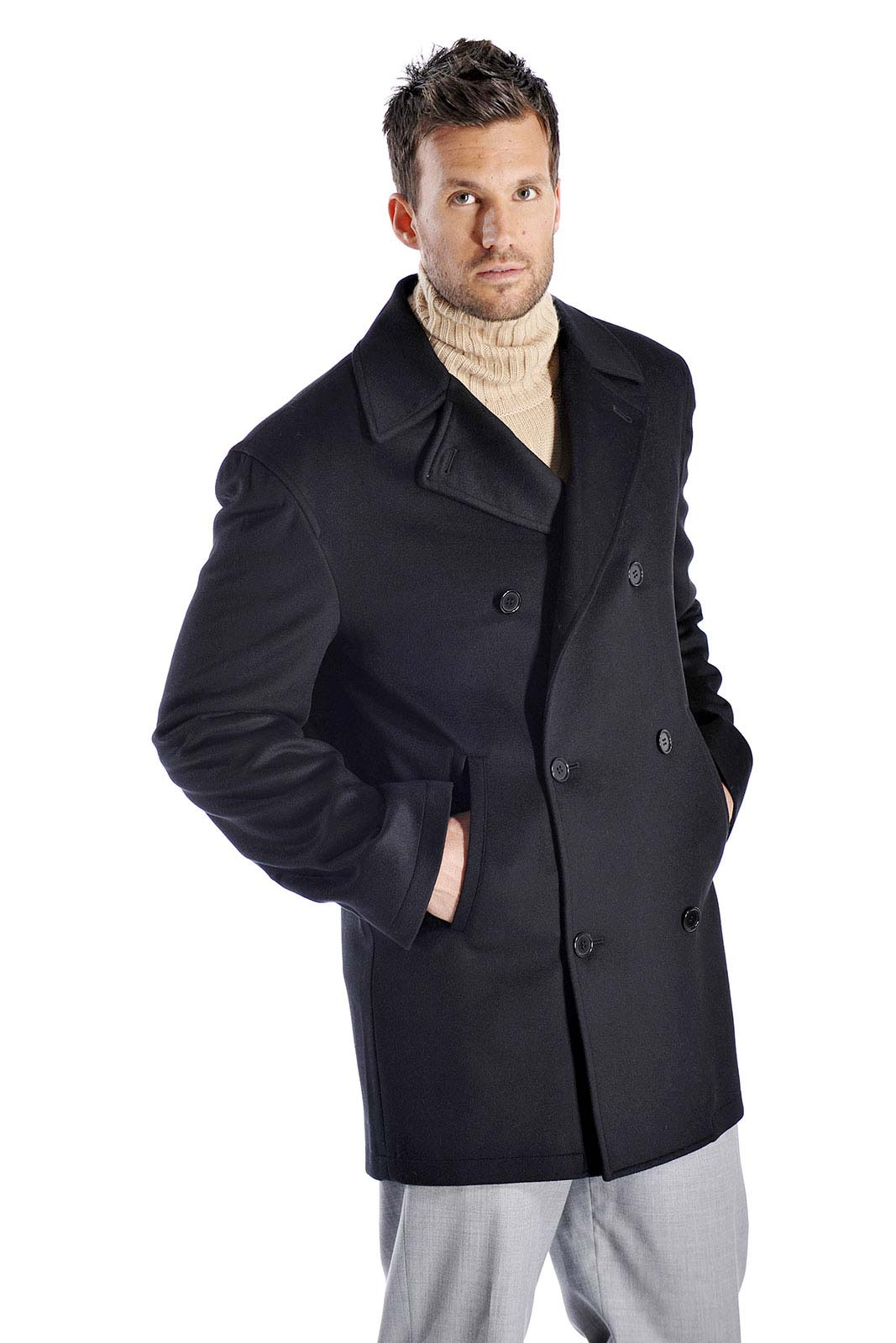 Luxurious soft and really warm this pea coat is made from the finest grades of cashmere and fine wool and offers unsurpassed warmth and softness. This is a hip length coat and has the following features-Made from 30 Cashmere and 70 Fine WoolHip Length with Side PocketsDouble Breasted 100 Polyester Satin Lining Available in Black & Charcoal ColorsAvailable in standard US sizes 40 to 50Measurements of this Coat Size404244464850Length3434.53535.53636.5Shoulder20.52121.52222.523Sleeve26.52727.52828.829Corresponding Suit Size404244464850