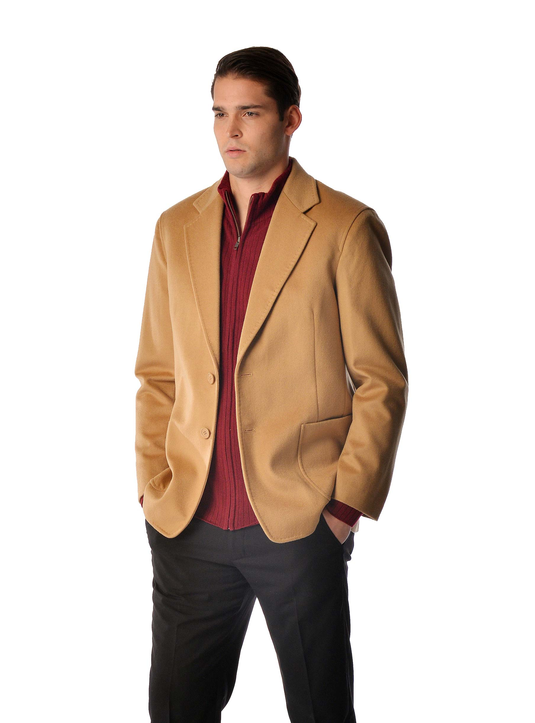 Luxurious  soft and really warm  this cashmere coat is made from the finest grades of cashmere and fine wool and offers unsurpassed warmth and softness. This is a sport coat/blazer and has the following features- Made from 30 Cashmere and 70 Fine Wool2 Button with overlap pockets100 Polyester Satin Lining Available in BlackAvailable in standard US sizes 38 to 50Measurements of this Coat Size38404244464850Length29.53030.53131.53232.5Shoulder19.52020.52121.52222.5Sleeve24.2524.7525.2525.7526.2526.7527.25Corresponding Suit Size38404244464850