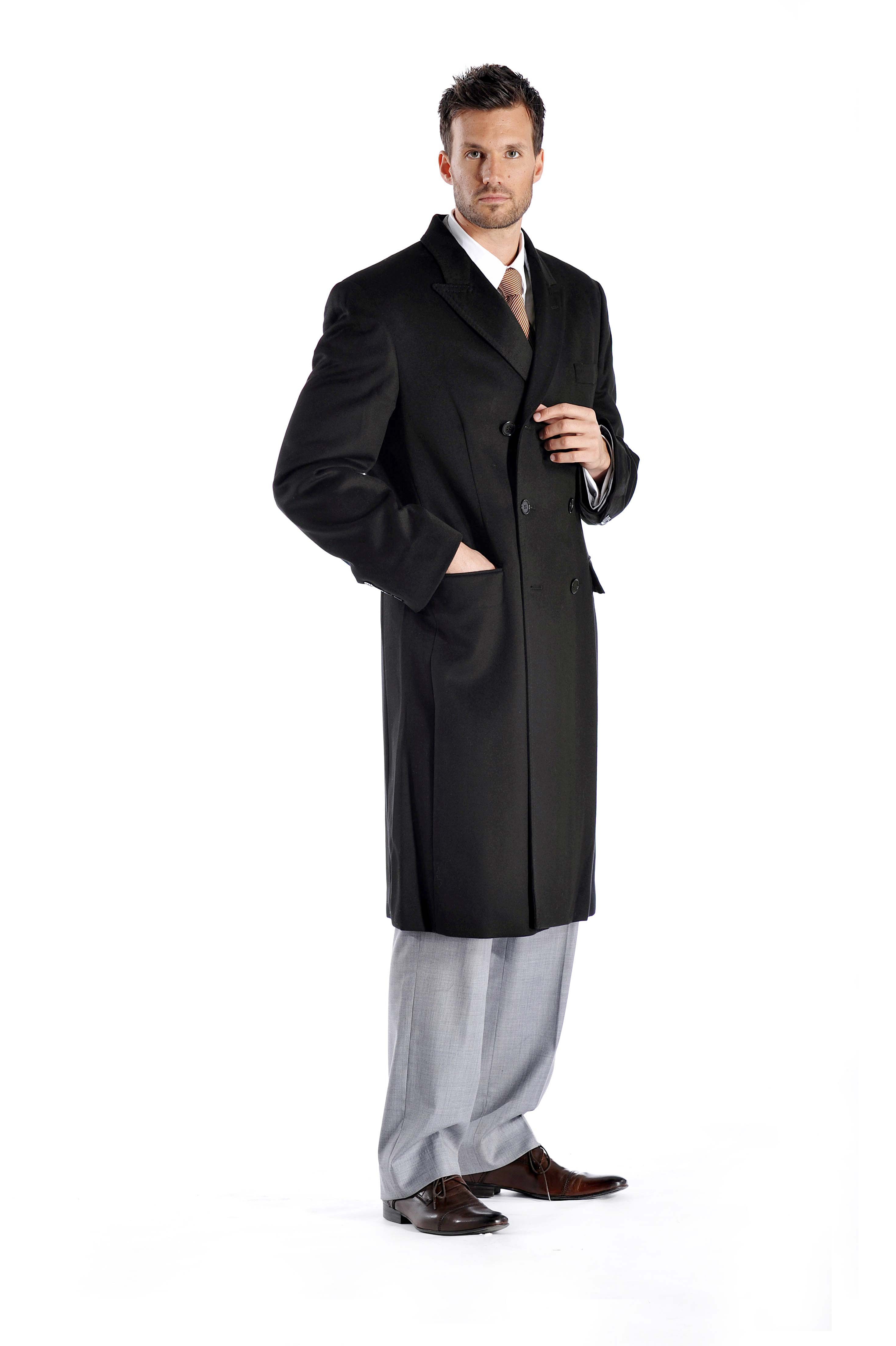 men's double breasted overcoat in pure cashmere