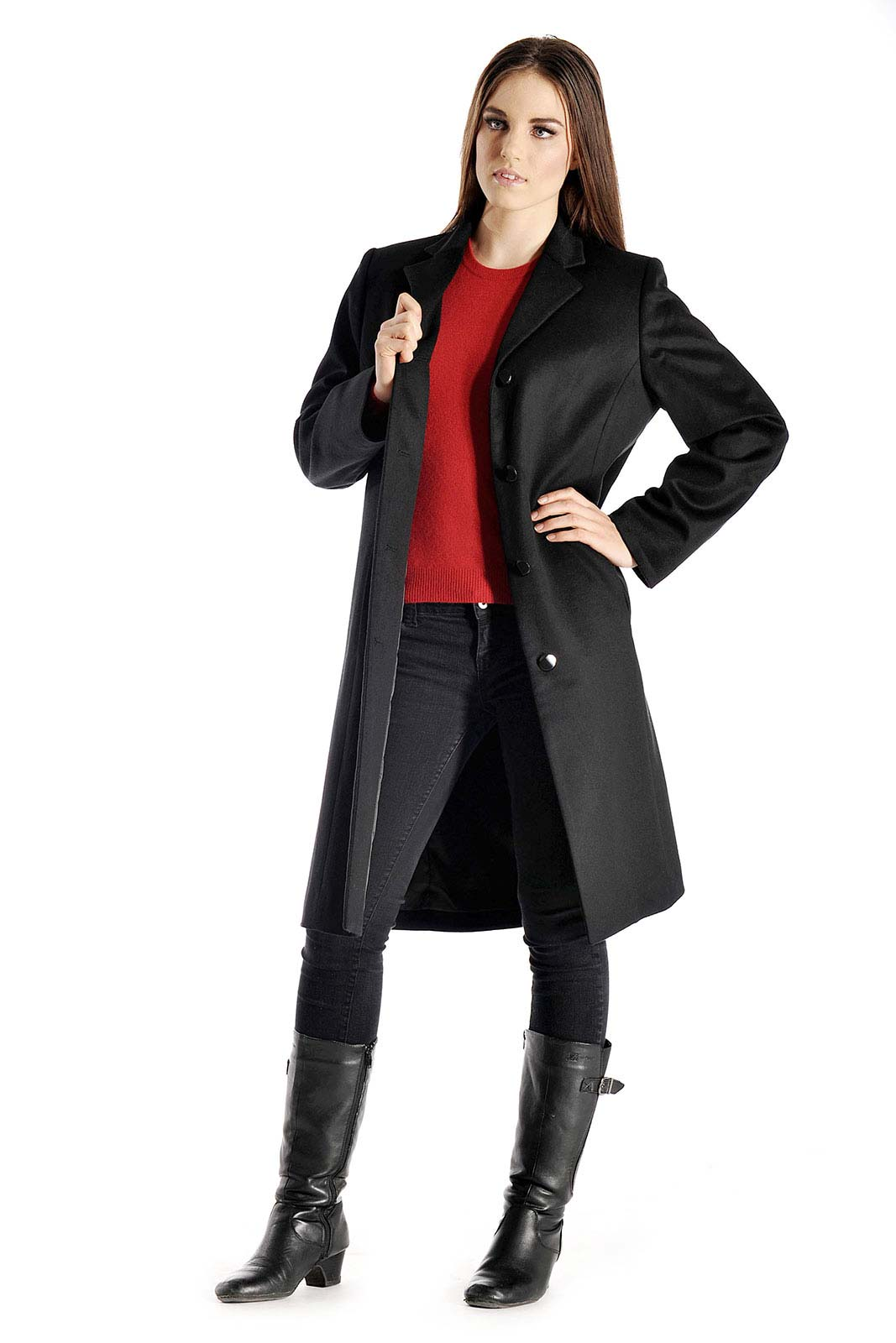 Pure Cashmere Knee Length Coat for Women
