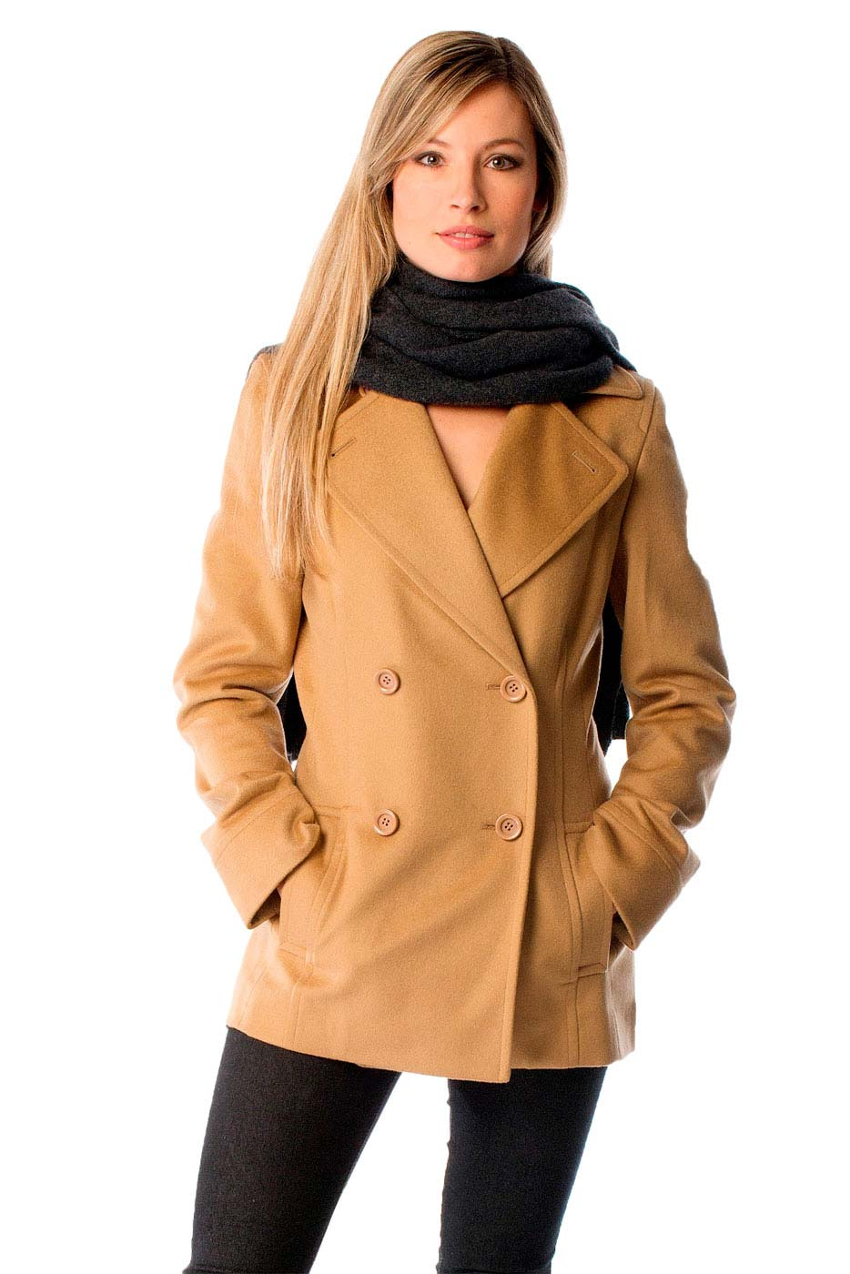 Luxurious soft and really warm this fitted cashmere coat is made from the finest grades of cashmere and wool. These coats offer unsurpassed warmth and softness and include the following features- Light weight yet incredibly warmCashmere 30 Fine Wool 70Fabric weight - 450 gms/sq. mtrDouble Breasted in a fitted style front pocketsAvailable in Black & CrimsonAvailable in standard US sizes 4 to 14This pea coat can be worn in two ways- One with the flaps open as shown in the red coat inset and the other with the flaps buttoned up as shown in the Camel coat in the main picture. Measurements of this Pea CoatSize468101214Length2929.2529.529.753030.25Sleeve Length2525.2525.525.525.7526Shoulder16.2516.516.751717.517.75Corresponding Dress Size468101214
