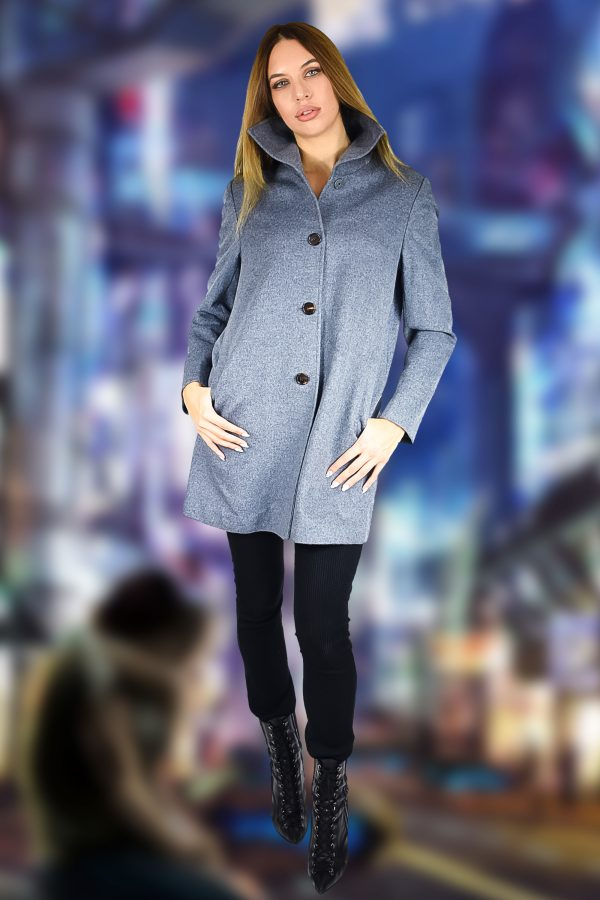 Short Funnel Coat in Pure Cashmere